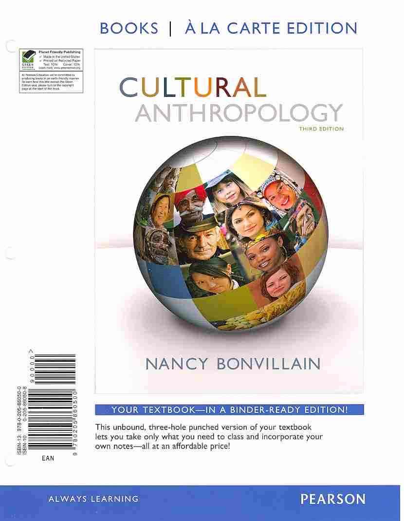 Cultural Anthropology By Bonvillain, Nancy
